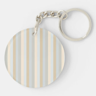 Classy Soft Colored Greys Vertical Stripes Double-Sided Round Acrylic Key Ring