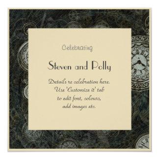 Classy Steampunk themed invitations - clock faces