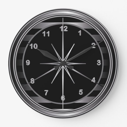 Classy Steel and Black Stripes Large Clock