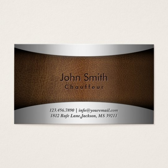 Classy Steel & Leather Chauffeur Business Card