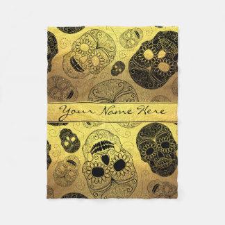 Classy Stylish Gold & Black Sugar Skulls with Name Fleece Blanket