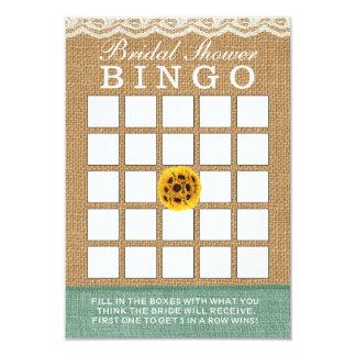 Classy Sunflower Ball Burlap Bridal Shower Bingo 9 Cm X 13 Cm Invitation Card