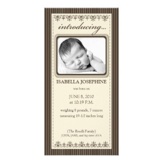 Classy Taupe Customized Birth Announcement Photo Card Template
