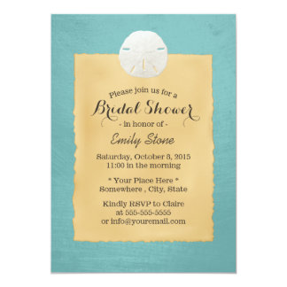 Classy Teal Green Sand Dollar Bridal Shower 13 Cm X 18 Cm Invitation Card