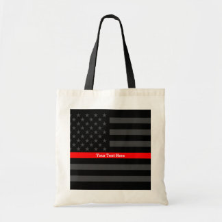 Classy Thin Red Line Personalized Black US Flag on Tote Bag