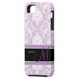 Classy Thistle Purple and white damask w/ monogram iPhone 5 Cases
