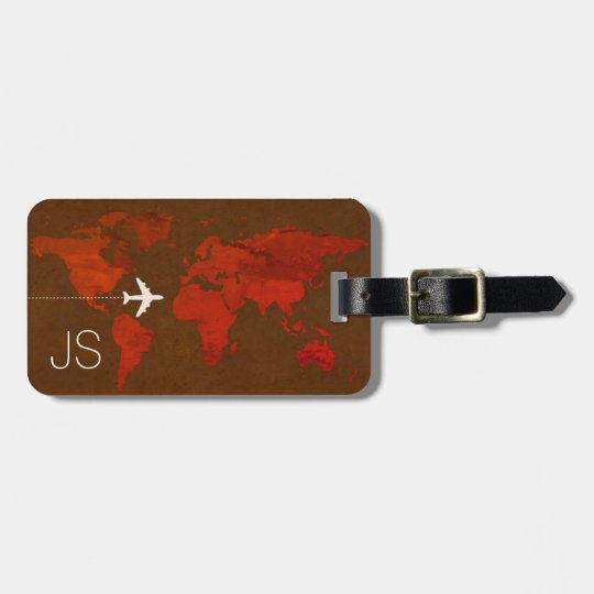 classy travel world map custom brown luggage tag