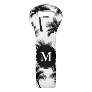 Classy Tropical Black Palm Trees & Initial Letter Wine Bag