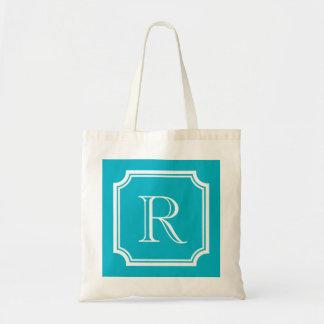 Classy turquoise blue monogram wedding tote bag