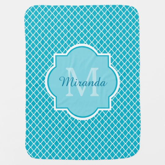 Classy Turquoise Blue Quatrefoil Monogram and Name Baby