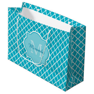 Classy Turquoise Blue Quatrefoil Monogram and Name Large Gift Bag