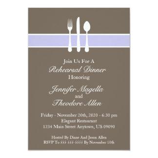"Classy Utensils Rehearsal Dinner Invite (Purple) 5"" X 7"" Invitation Card"