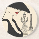 Classy Vintage Fashion in Paris Beverage Coaster
