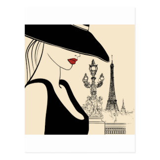 Classy Vintage Fashion in Paris Postcard