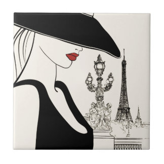 Classy Vintage Fashion in Paris Small Square Tile