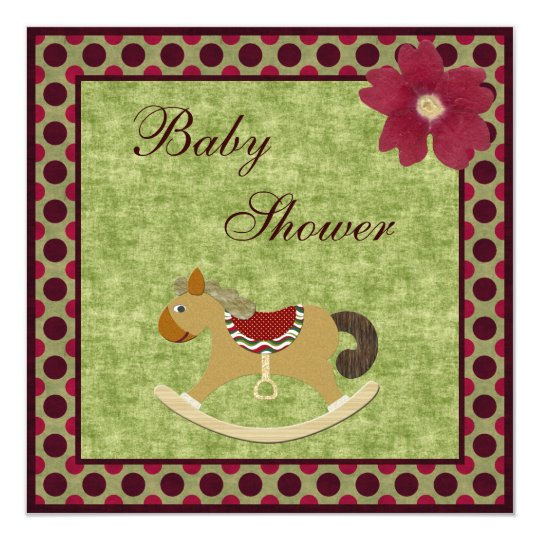 Classy Vintage Rocking Horse Polka Dot Baby Shower Card