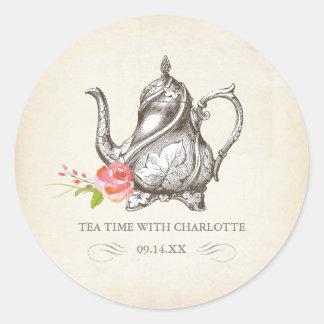 "Classy Vintage Tea Party Sticker ""Tea Time"""