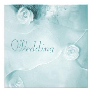 Classy Vintage Teal Wedding Gown Wedding Custom Invites