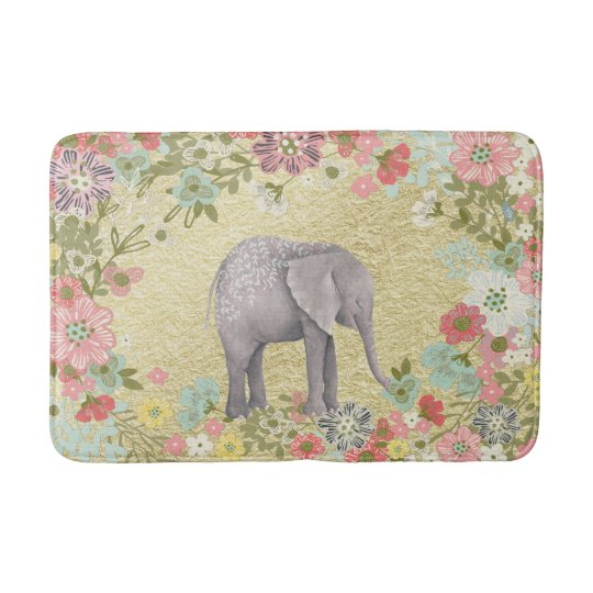 Classy Watercolor Elephant Floral Frame Gold Foil Bath