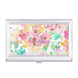 Classy watercolor hand paint floral design business card holder