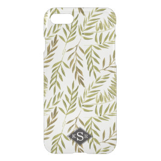 Classy Watercolor Leaves Monogram iPhone 8/7 Case
