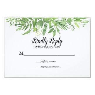 Classy Watercolor wild meadow green Wedding RSVP Card