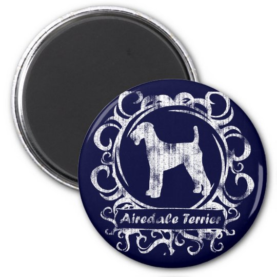 Classy Weathered Airedale Terrier 6 Cm Round Magnet