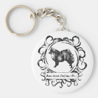 Classy Weathered American Eskimo Dog Key Chain