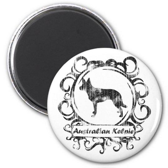 Classy Weathered Australian Kelpie 6 Cm Round Magnet