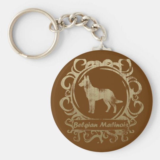 Classy Weathered Belgian Malinois Key Ring
