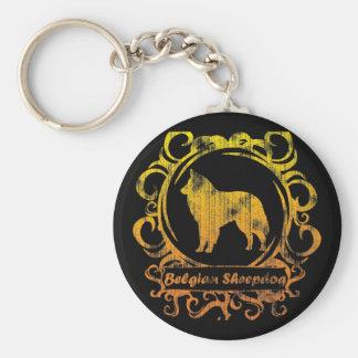 Classy Weathered Belgian Sheepdog Keychains