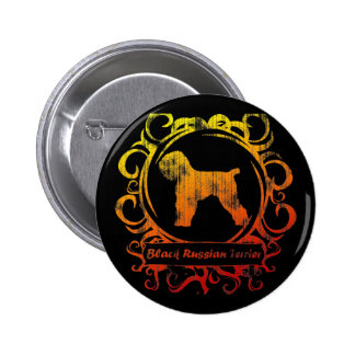 Classy Weathered Black Russian Terrier Button