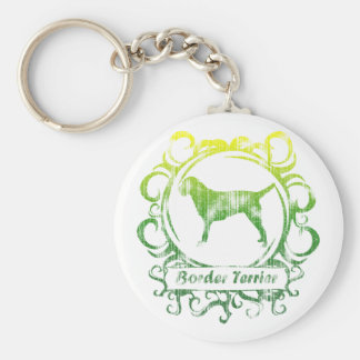 Classy Weathered Border Terrier Basic Round Button Key Ring