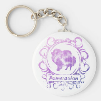 Classy Weathered Pomeranian Basic Round Button Key Ring