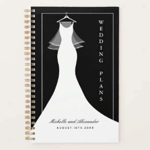 Classy wedding planner agenda with ball gown dress