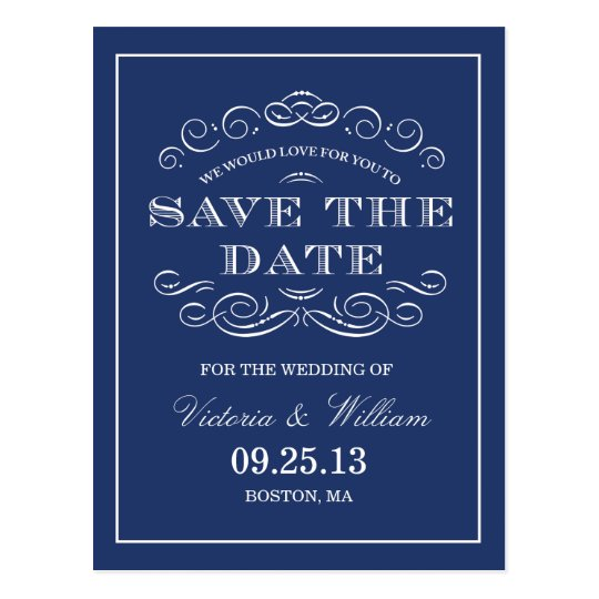 CLASSY WEDDING   SAVE THE DATE ANNOUNCEMENT POSTCARD