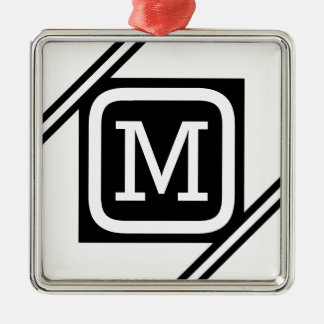 Classy White & Black Basic Square Lined Monogram Christmas Ornament