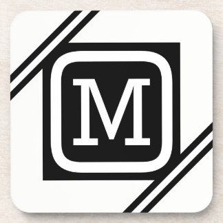 Classy White & Black Basic Square Lined Monogram Coaster