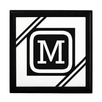 Classy White & Black Basic Square Lined Monogram Gift Box