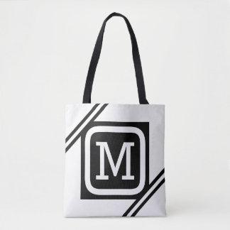 Classy White & Black Basic Square Lined Monogram Tote Bag