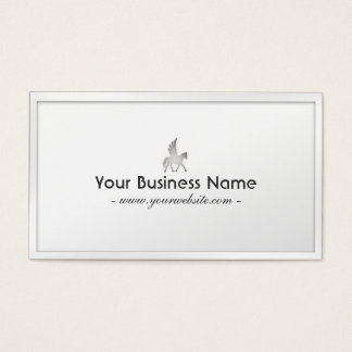 Classy White Border Flying Horse Business Card
