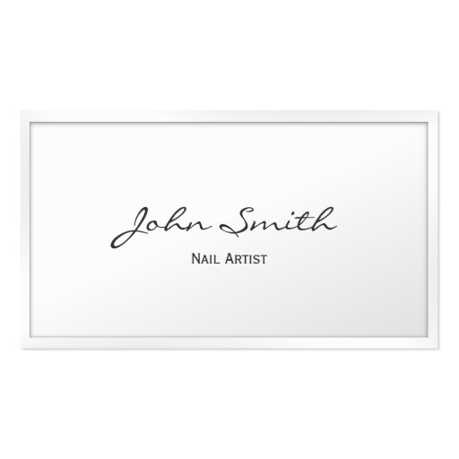 Classy White Border Nail Art Business Card