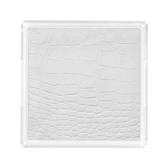 Classy white crocodile leather acrylic tray