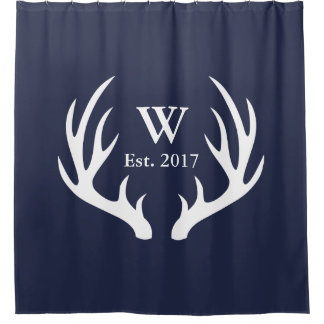 Classy White Deer Antlers & Est. Date Shower Curtain
