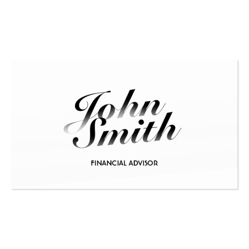Classy White Financial Advisor Business Card