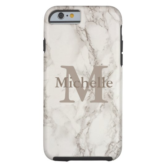 Classy White Marble Print Personalised Name Tough iPhone