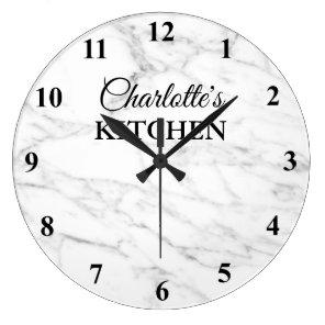 Classy white marble stone kitchen wall clock