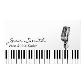 Classy White Piano & Voice Teacher Business Card