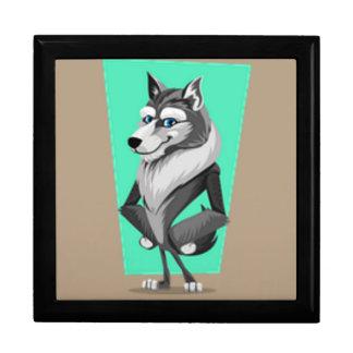Classy Wolf Cartoon Large Square Gift Box