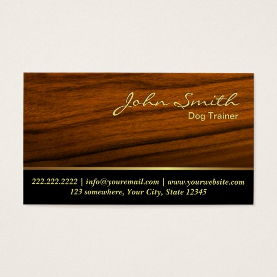 Classy Woodgrain Dog Training Business Card